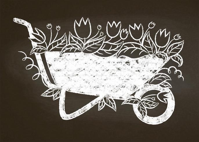 Silhouette de craie de brouette de jardin vintage avec des feuilles et des fleurs à bord de la craie. Carte de jardinage de typographie, affiche.