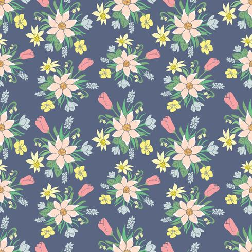 Seamless colorful vector pattern with spring flowers.Floral patten.