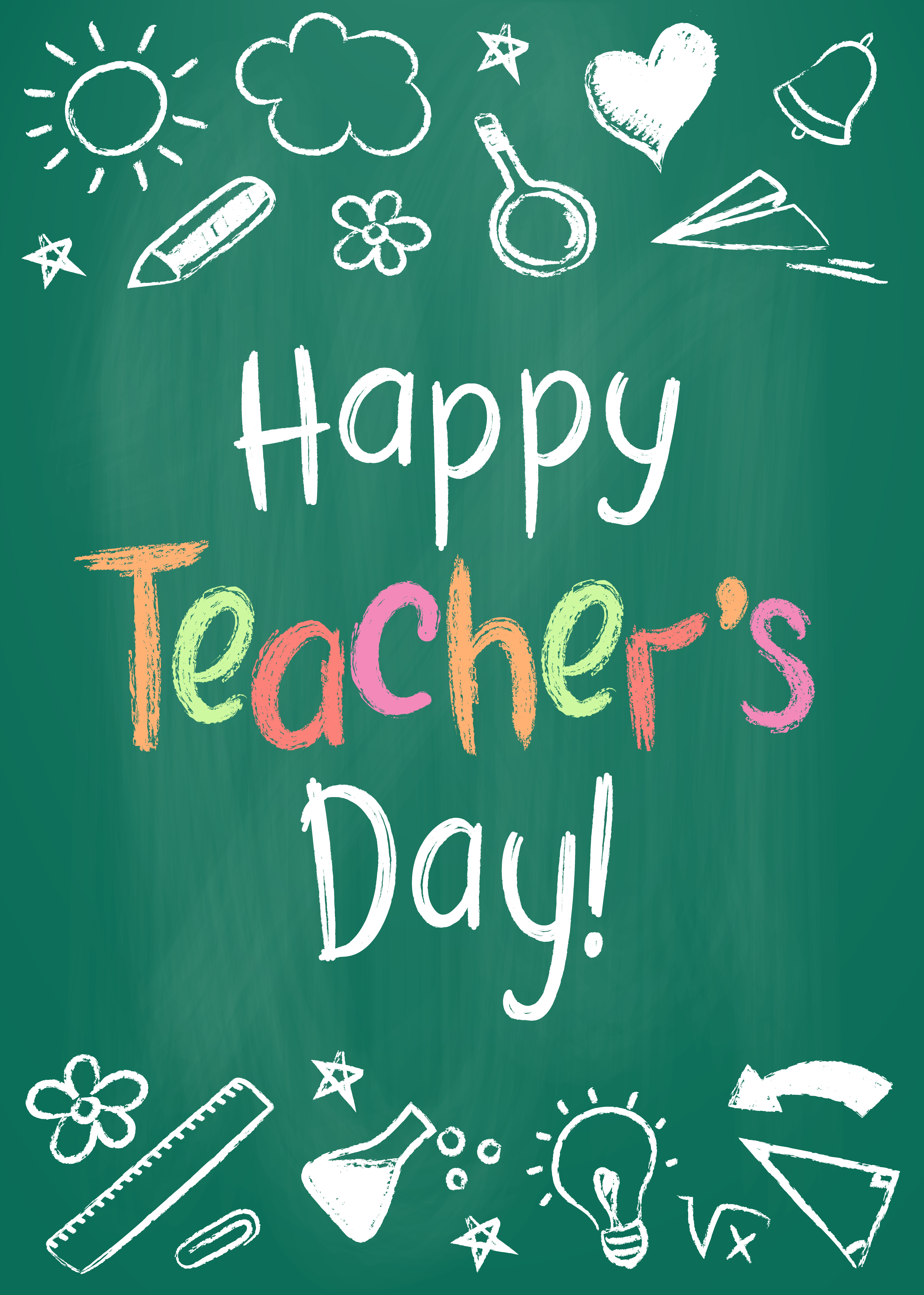 Happy Teachers Day greeting card or placard on green chalk board