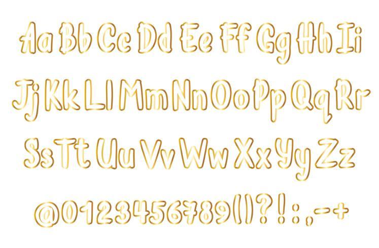Alfabeto de oro en estilo incompleto. Vector de letras escritas a mano, números y signos de puntuación. Oro fuente de escritura a mano contorneada.