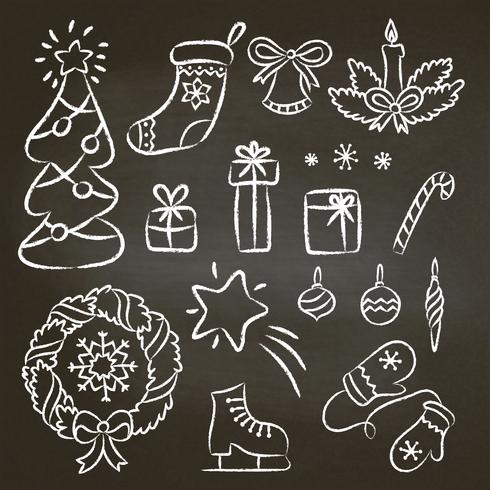 Christmas set of hand drawn chalk contour doodles. Illustration with christmas chalk elements on black board christmas tree,candy cane, wreath, snowflakes, mittens, gifts.