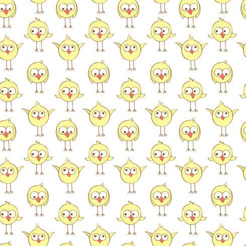 Sömlöst mönster med söta kycklingar.