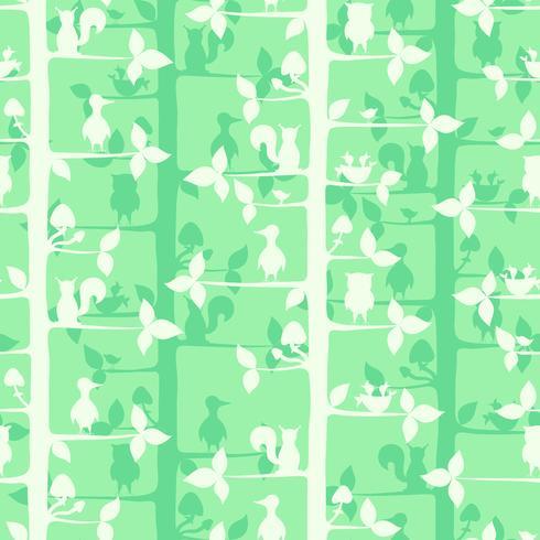 Seamless vektor mönster med träd och skogsfåglar och djur.