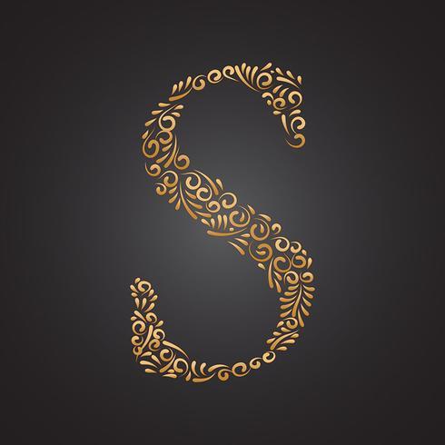 Goldener dekorativer mit Blumenbuchstabe S