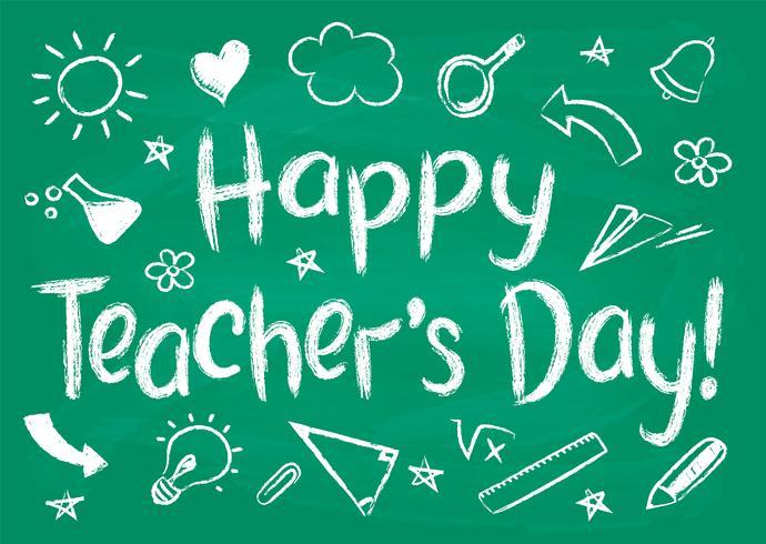Tarjeta o cartel feliz de felicitación del día de los profesores en el tablero de tiza verde en estilo incompleto con garabatos handdrawn de la escuela. vector
