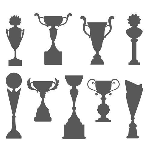 Trofee pictogrammen geïsoleerd op een witte achtergrond. Vector illustratie. Decoratieve kopjes silhouetten.