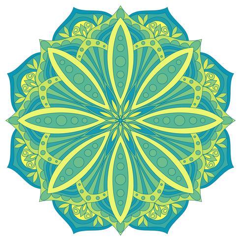 Etniskt dekorativt designelement. Färgglada vektor mandala symbol. Rund abstrakt blommig prydnad.