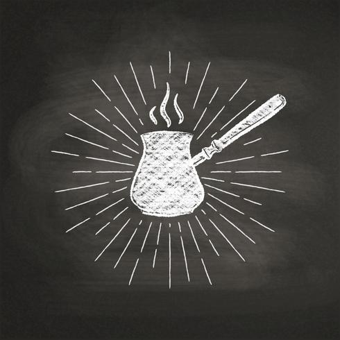 Kreide maserte Kaffeekannenschattenbild mit Weinlesesonnenstrahlen auf schwarzem Brett. Vector Kaffeekanneillustration für Getränk und Getränkekarte oder Caféthema, Plakat, T-Shirt Druck, Logo.