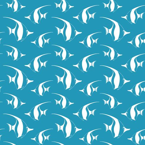 Seamless pattern with pennant fish.Vector fish pattern. Sea life vector pattern.