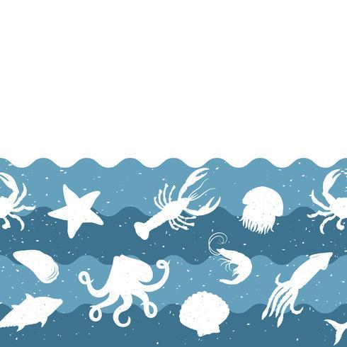 Patrón de repetición horizontal con productos del mar. Bandera inconsútil de los mariscos con los animales subacuáticos. Diseño de azulejos para restaurante, industria de alimentos de pescado o tienda de mercado. vector