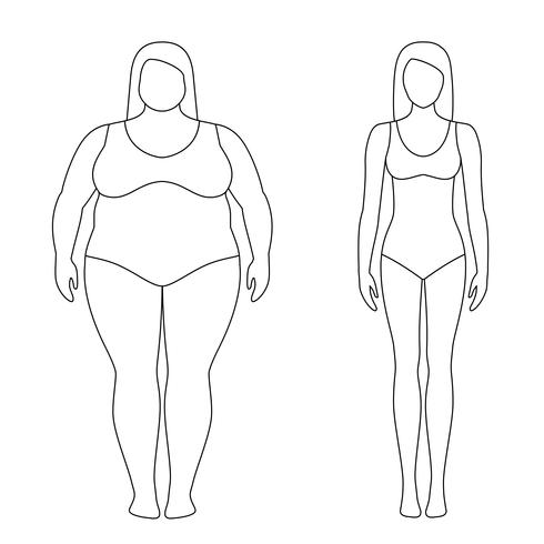 Contoured illustration of a woman before and after weight loss. Female body. Successful diet and sport concept. Slim and fat girls. vector