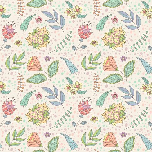 Reticolo di vettore con i fiori e le foglie di doodle di primavera.