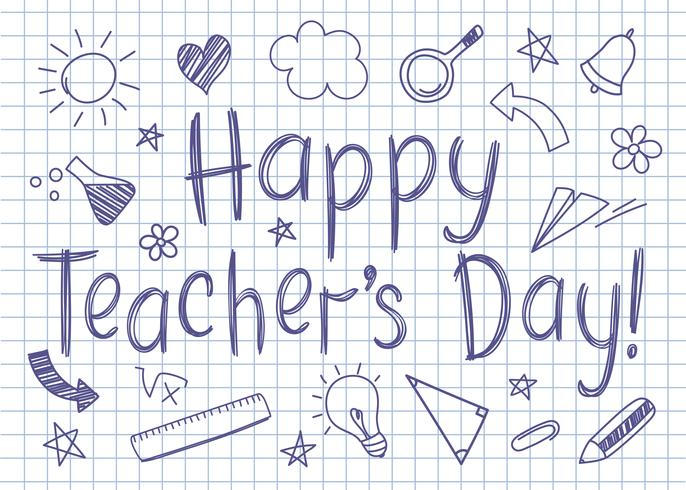 Tarjeta de felicitación feliz del día de los maestros en la hoja cuadrada del cuaderno en estilo incompleto con garabatos handdrawn de la escuela. vector