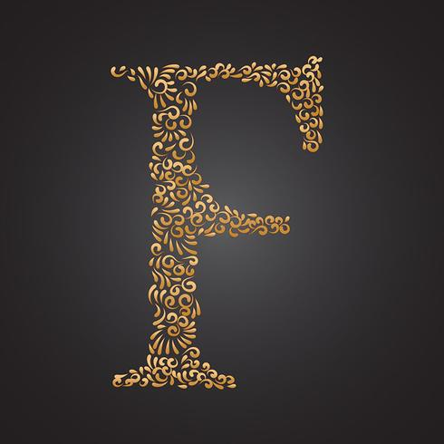 Letra Ornamental De Oro Floral F