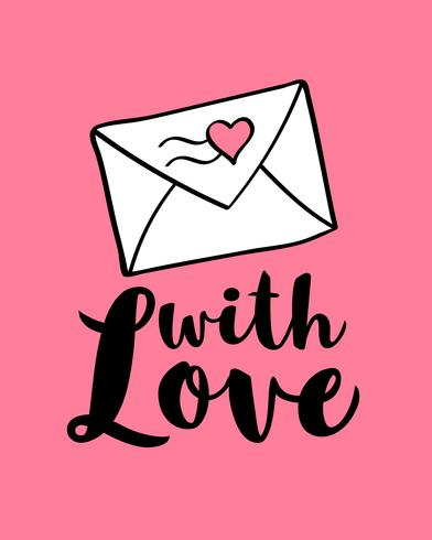 Hand written lettering With Love and envelop with heart shape for Valentines day card, poster, banner or label. Vector valentines day illustration.