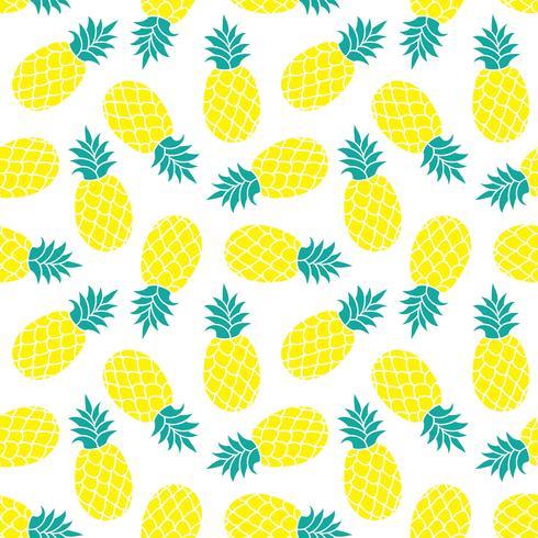 Fondo de vector de piña. Verano colorido estampado textil tropical.