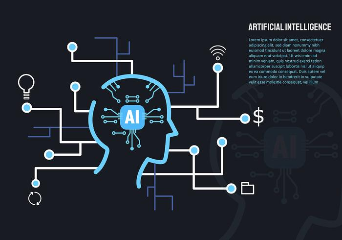 Artificial Intelligence and Laptop vector