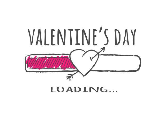 Indicatore di stato con scritta - San Valentino caricamento e forma di cuore con la freccia in stile impreciso.