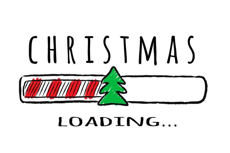 Barra de progresso com inscrição - carregamento de Natal e abeto em estilo esboçado. Vector a ilustração de Natal para cartão de design, cartaz, saudação ou convite de t-shirt.