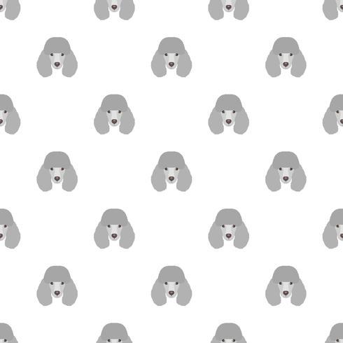 Modello di vettore senza soluzione di continuità con barboncino. Icona piana di testa di cane che ripete sfondo per design tessile, carta da imballaggio, carta da parati o scrapbooking.