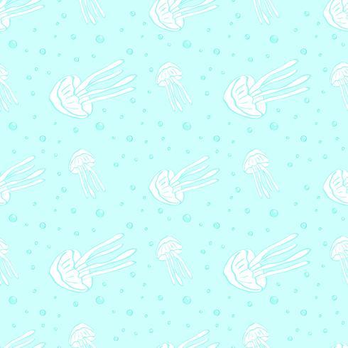 Kwallen naadloos vectorpatroon. Kwallen achtergrond. Vector illustratie.