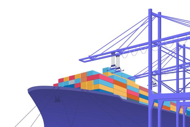 Transporte de envío. El comercio internacional. Diseño gráfico con copia espacio. Ilustración vectorial vector