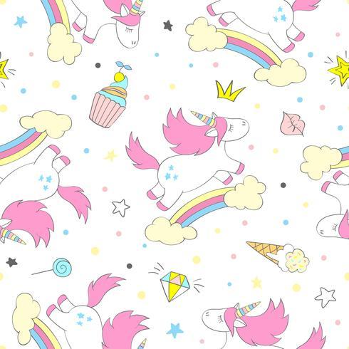 Patrón de unicornio de vector inconsútil para textiles de niños, estampados, papel de pared, sccrapbooking. Garabatee el unicornio lindo con los elementos del doodle que repiten el fondo.