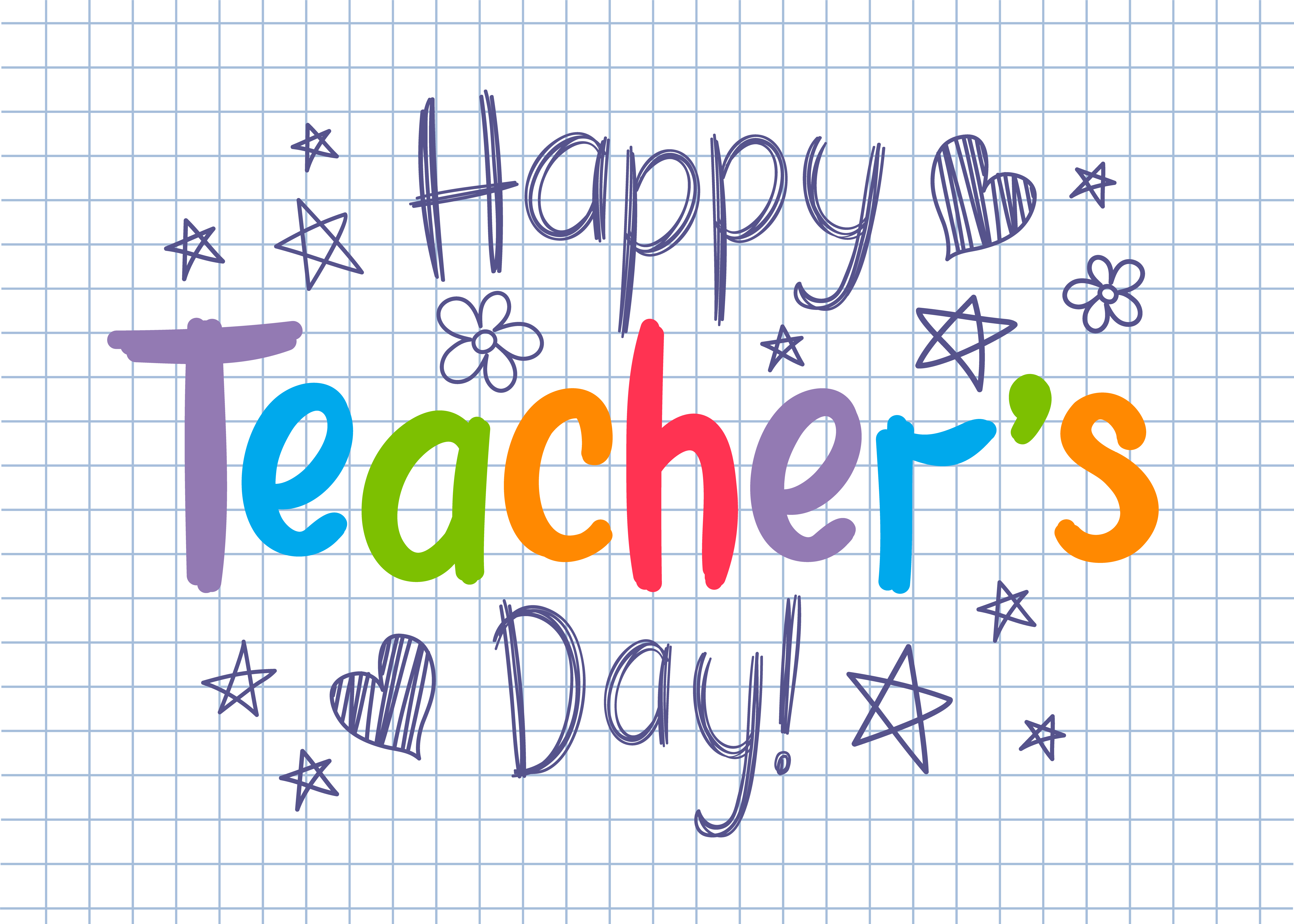 happy teachers day greeting card on squared copybook sheet