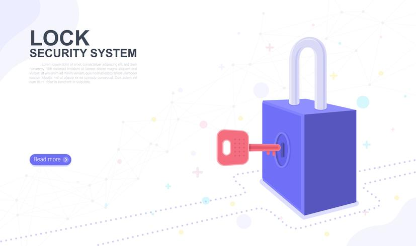 Lock security system. landing page graphic design website template. Vector illustration