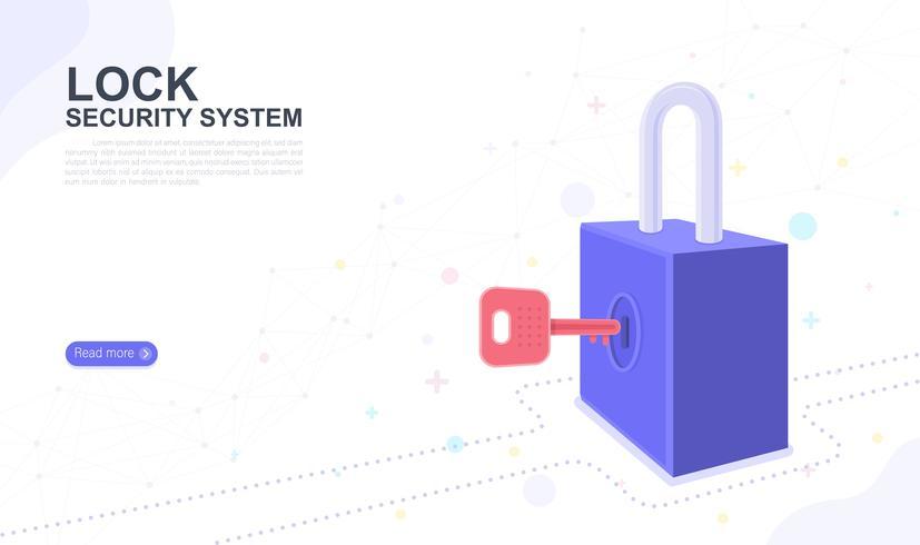 Vergrendel beveiligingssysteem. bestemmingspagina grafisch ontwerp website sjabloon. Vector illustratie