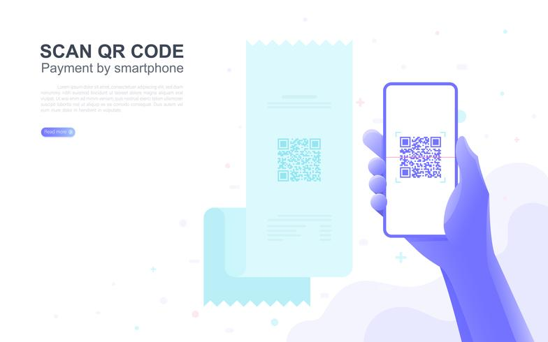 Payment by smartphone scan QR code with copy space. vector