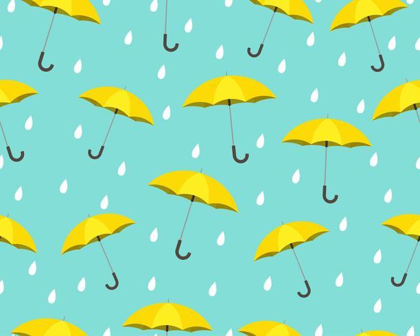 Seamless mönster av gult paraply med droppar regnar på blå bakgrund - Vektor illustration