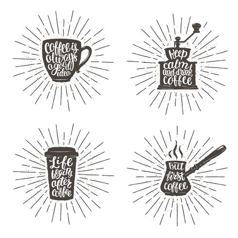 coffee lettering in cup grinder pot shapes on sunburst