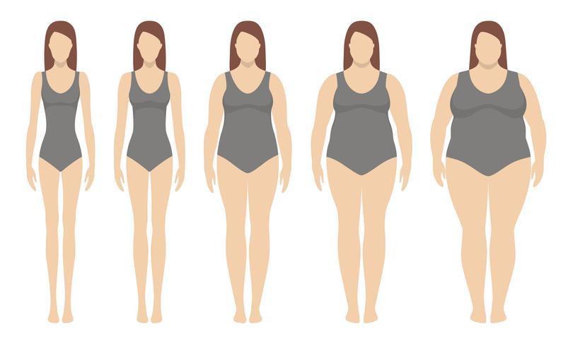 Kroppsmassindex vektor illustration från undervikt till extremt fetma. Kvinna silhuetter med olika fetma grader. Viktminskning koncept.