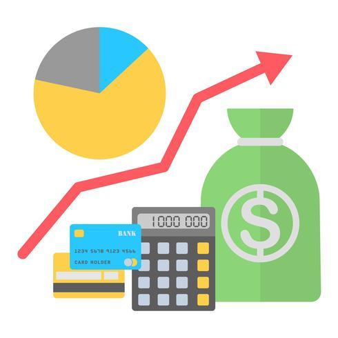 Illustration vectorielle dans un style plat Finance concept en pleine croissance. vecteur