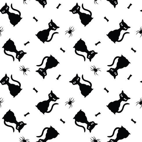 Naadloos vectorhalloween-patroon met zwarte katten, spinnen en beenderen.