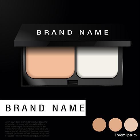 Kudde Kompakt grundannonser, makeup nödvändig produkt 3d illustration - Vector
