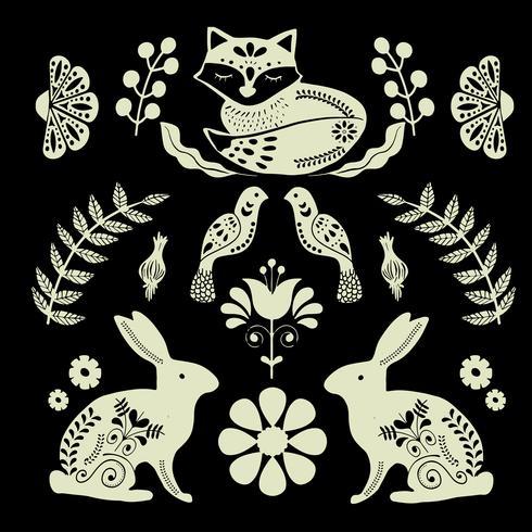 Scandinaviat folk konst med räv, nordisk stil blockprint imitation