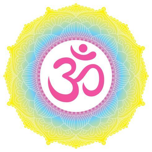 Ornamento di mandala con il simbolo Om Aum. Elementi decorativi d'epoca