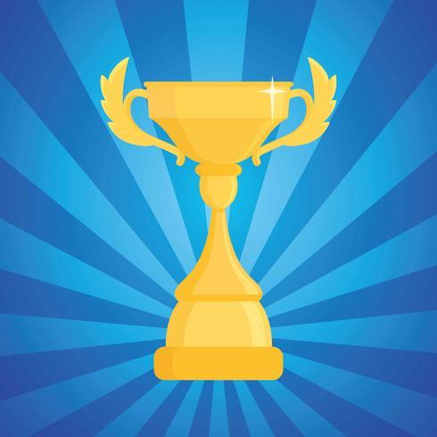 Award trofé vektor illustration. Cup vinnaren på en blå randig bakgrund med ljus.