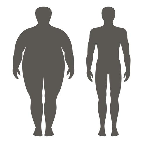 Vector illustration of a man before and after weight loss. Male body silhouette. Successful diet and sport concept. Slim and fat boys.