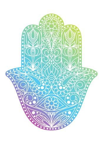 Hand drawn Hamsa symbol.  Hand of Fatima. Ethnic amulet common in Indian, Arabic and Jewish cultures. Colorful Hamsa symbol with eastern floral ornament.