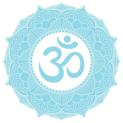 Symbol AUM OM Ohm in der dekorativen runden Mandalaverzierung. vektor