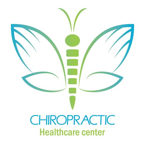 Chiropractic clinic logo with butterfly, symbol of hand and spine. vector