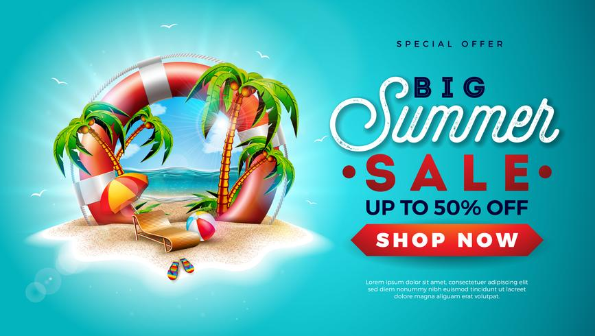 Summer Sale Design With Lifebelt And Exotic Palm Trees On