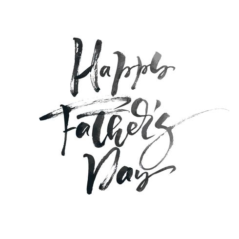 Progettazione del testo dell'iscrizione calligrafica disegnata a mano di giorno di padri felice. Citazione isoladed dell'illustrazione di calligrafia di vettore. Poster tipografia. Utilizzare per biglietto di auguri, tag, poster