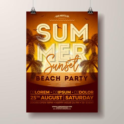 Vektor-Sommerfest-Flieger-Design mit Palmen und Ozean auf Sonnenuntergang gestalten Hintergrund landschaftlich. Sommerferien-Illustrations-Schablone mit tropischen Pflanzen