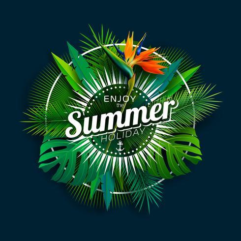 Disfrute del diseño de las vacaciones de verano con flores de loros y plantas tropicales sobre un fondo azul oscuro. Ilustración vectorial con hojas de palmera exóticas y filodendro