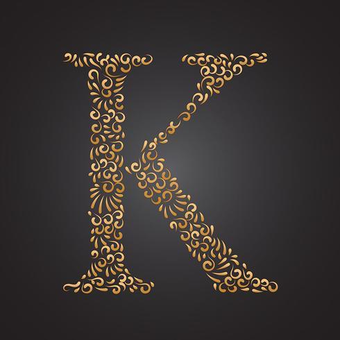 Floral Golden Ornamental Letter K