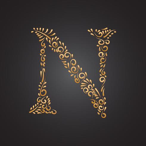 Eleganter goldener dekorativer Buchstabe N